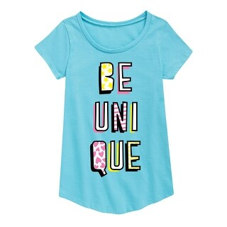 Be Unique - Youth Girl Short Sleeve Curved Hem Tee - aqua