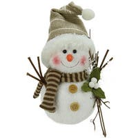 "10"" Alpine Chic Snowman with Twigs and Mistletoe Christmas Decoration - WHITE"