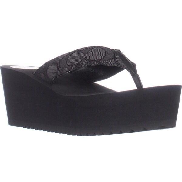 Coach Jen Slip-On Wedge Flip Flop Sandals, Smoke Coal