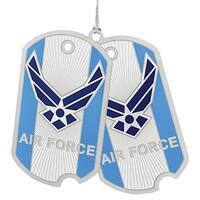 "3"" Blue and Silver US Air Force Dog Tags Christmas Ornament"