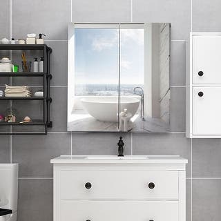 Gymax 24 Wide Wall Mount Mirrored Bathroom Medicine Storage Cabinet 2 Mirror