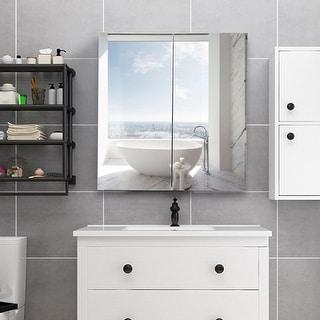 Gymax 24u0027u0027 Wide Wall Mount Mirrored Bathroom Medicine Storage Cabinet 2  Mirror ...