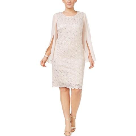Connected Apparel Womens Plus Cocktail Dress Angel Sleeve Below Knee