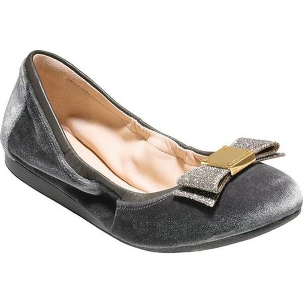 900b451b1831 Shop Cole Haan Women s Tali Bow Ballet Flat Grey Velvet Glitter - On ...