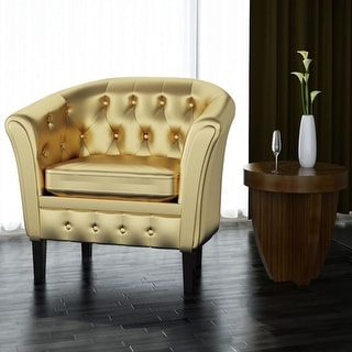 vidaXL Artificial Leather Armchairs Tub Chair Gold