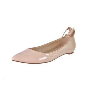 Zara Basic Womens Patent Ankle Strap Pointy-Toe Flats - 6 medium (b,m)