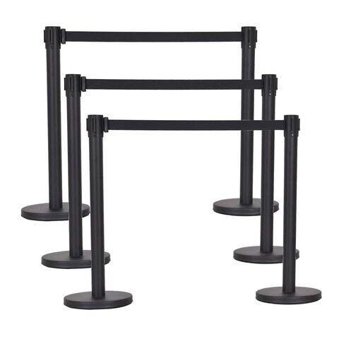 Costway 6Pcs Black Stanchion Posts Queue Pole Retractable Belt Crowd Control Barrier