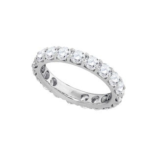14kt White Gold Womens Round Natural Diamond Band Wedding Anniversary Ring 3.00 Cttw