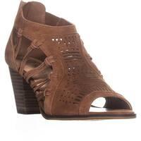 Bella Vita Kortez Zip Up Block Heel Sandals , Dark Tan