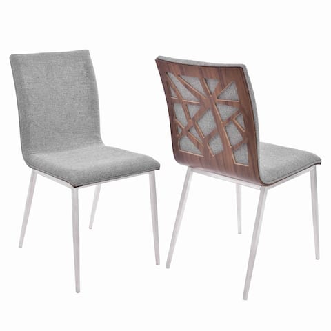 Fabric Dining Chair with Wood Back and Metal Legs, Set of 2, Brown and Gray