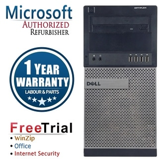 Refurbished Dell OPTIPLEX 990 Tower Intel Core i5 2400 3.1G 16G DDR3 120G SSD+2TB DVD Windows 10 Pro 1 Year Warranty - Black