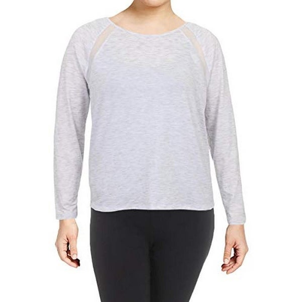 Ideology Womens Yoga Fitness Pullover Top Blue XXL
