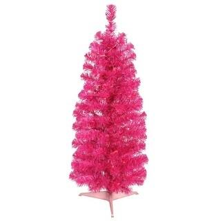 "3' x 19"" Pre-Lit Hot Pink Tinsel Artificial Christmas Tree - Pink Dura-Lit Lights"