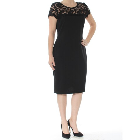 CONNECTED Womens Black Lace Seamed Short Sleeve Jewel Neck Below The Knee Shift Cocktail Dress Size: 6