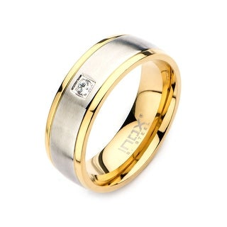 Inox Stainless Steel and Gold IP with Clear CZ Band Ring with Comfort Fit. Available Sizes: 9 - 12