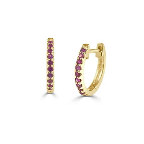 Ruby Earrings Huggies Small Hoops 14K Yellow Gold by Joelle Collection
