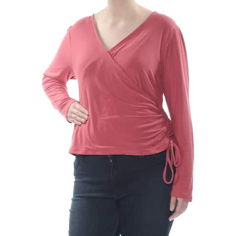 PLANET GOLD Womens Pink Tie Long Sleeve V Neck Wear To Work Top Plus Size: 2X