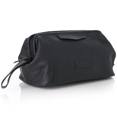 Alpine Swiss Lauter Toiletry Bag Genuine Leather Shaving Kit Dopp Kit Travel Case - Black - One Size