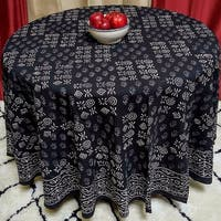 "Handmade 100% Cotton Hand Block Print Dabu Tablecloth 90"" Round Black White Napkin Placemat"