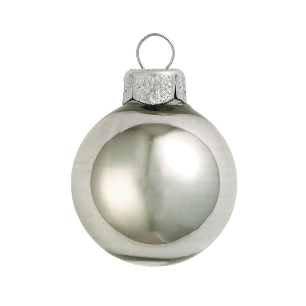 "6ct Shiny Pewter Gray Glass Ball Christmas Ornaments 4"" (100mm)"