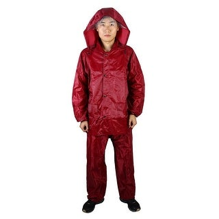 Mefine Authorized Water Resistent Raincoat Poncho Jacket Trouser Suit Dark Red L
