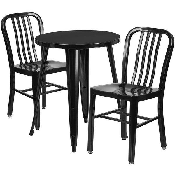 Brimmes 3pcs Round 24'' Black Metal Table w/2 Vertical Slat Back Chairs