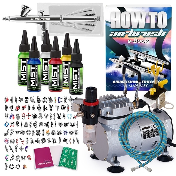 Temporary Tattoo Airbrush Kit - 6 Color Set - With Compressor and Stencils