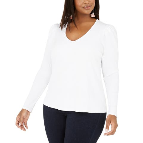 INC International Concepts Women's Plus Size Ribbed-Knit Puff-Sleeve Top White Size 2X