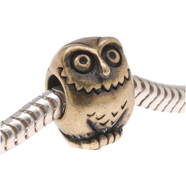 TierraCast Brass Oxide Finish Pewter European Style Large Hole Owl Bead 12mm/ 1