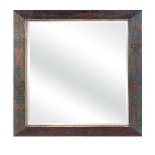 """46"""" Distressed brown and blue Decorative Reclaimed Wood Framed Beveled Mirror"""
