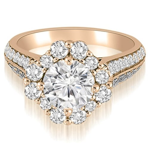 2.00 cttw. 14K Rose Gold Halo Two Row Round Cut Diamond Engagement Ring