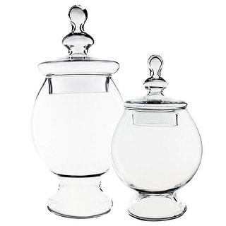CYS® Glass Apothecary Jar Candy Buffet Jar/Vase with Lid, Set of 2