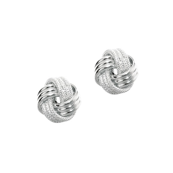 Mcs Jewelry Inc 14 KARAT WHITE GOLD LOVE KNOT EARRINGS (DIAMETER: 9MM)