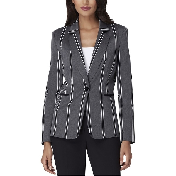 Tahari Womens Notched Collar One Button Blazer Jacket, Grey, 2. Opens flyout.