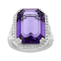 Crystaluxe Ring with Purple & White Swarovski Elements Crystals in Sterling Silver