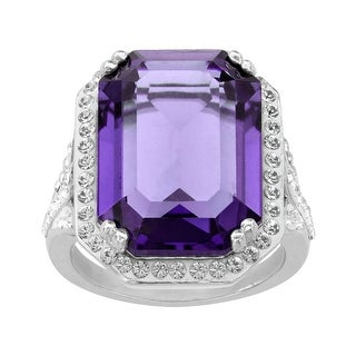 Crystaluxe Ring with Purple & White Swarovski Elements Crystals in Sterling Silver (4 options available)