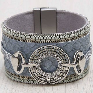 Mad Style Grey Wide Ringed Wrap Bracelet