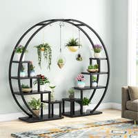 Couple 5-Tier Plant Stand Curved Display Shelf With Hooks Deals