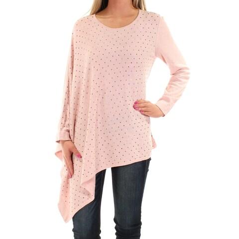 Womens Pink Long Sleeve Jewel Neck Casual Trapeze Sweater Size XS