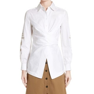 Yigal Azrouel White Womens Size 2 Button Down Embroidered Blouse