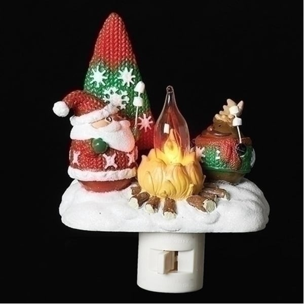 "4"" Red and White Santa and Reindeer Roasting Marshmallows around the Camp Fire Night Light"