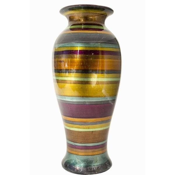 "21"" Ceramic Vase - Eggplant, Bronze, Gold, Green, Copper And Pewter In Eggplant, Bronze, Gold, Green, Copper And Pewter"