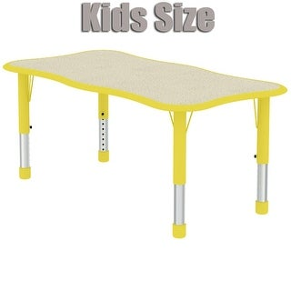 2xhome - Yellow Kids Table Height Adjustable Wave Shape Activity Table School Table Childs Bright Color Table Preschool