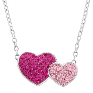 Crystaluxe Double Heart Pendant with Swarovski Crystals in Sterling Silver - Pink
