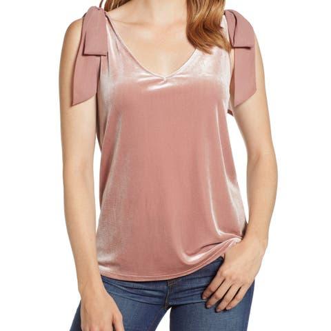 Gibson Pink Velvet Tie-Sleeve Chiffon Women's Large L Tank Cami Top