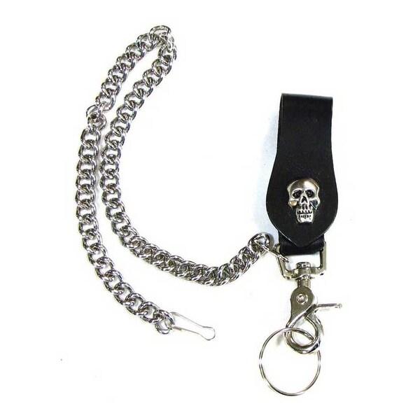 "Mascorro Leather Skull Keychain Fob with Metal Biker Chain Black Leather K18-SK - 3.5"" x 1.5"""