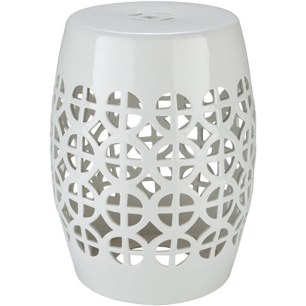Akio White Ceramic/Porcelain Outdoor Stool. Opens flyout.