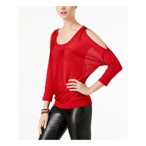 INC Womens Red Cold Shoulder 3/4 Sleeve Scoop Neck Sweater Size L
