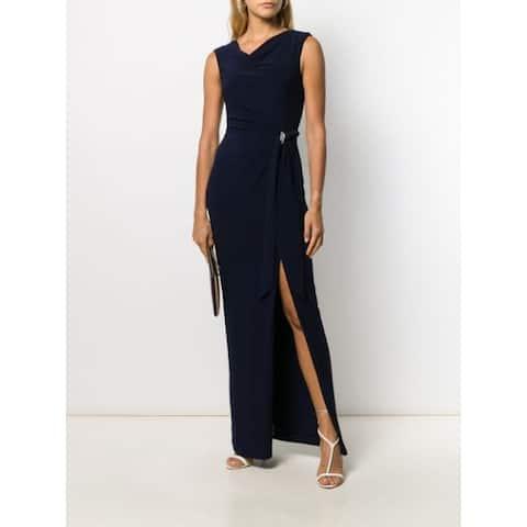 RALPH LAUREN Womens Navy Sleeveless Maxi Sheath Formal Dress Size 6
