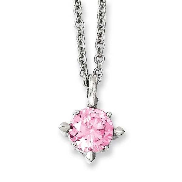 Chisel Stainless Steel Pink CZ Pendant 18in Necklace (2 mm) - 18 in
